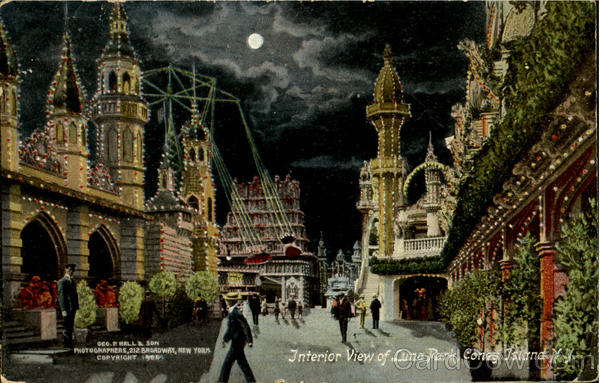 Interior View Of Luna Park Coney Island New York Amusement Parks