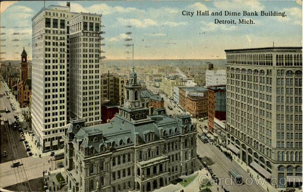 City Hall And Dime Bank Building Detroit Michigan