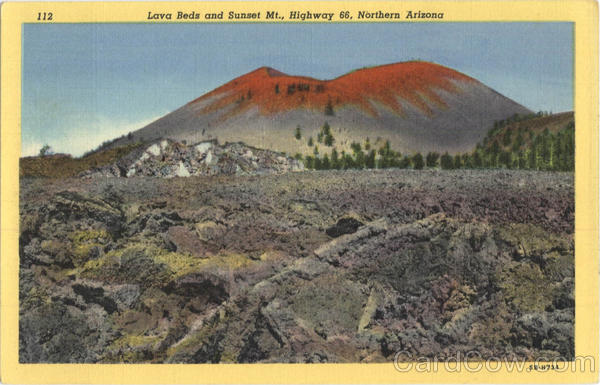 Lava Beds and Sunset Mt, Highway 66 Scenic Arizona