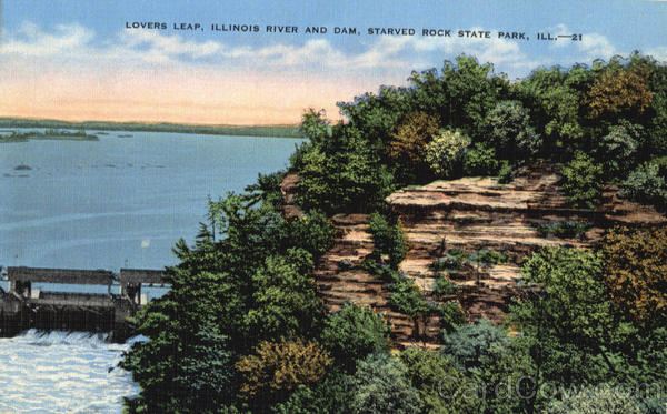 Lovers Leap, Illinois River and Dam Starved Rock State Park