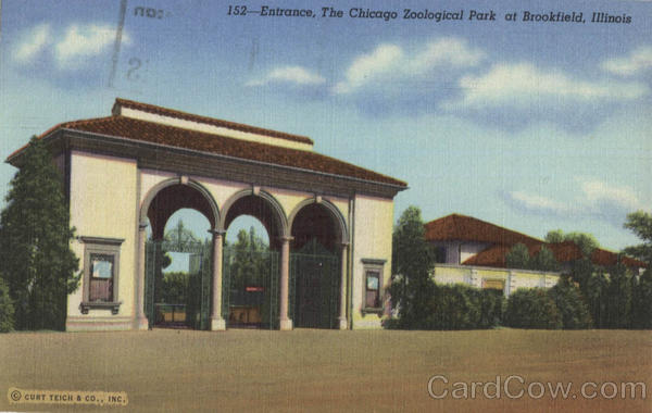 South Entrance to The Chicago Zoological Park, Between 33rd and 34th Street Brookfield Illinois