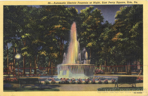 Automatic Electric Fountain at Night, East Perry Square Erie Pennsylvania