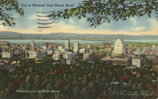 City of Montreal from Mount Royal Canada Quebec