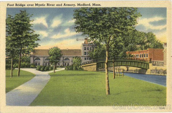 Foot Bridge over Mystic River and Armory Medford Massachusetts