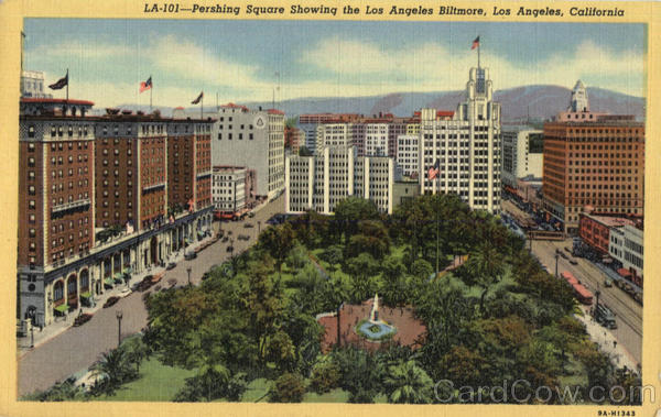 Pershing Square Showing the Los Angeles Biltmore California