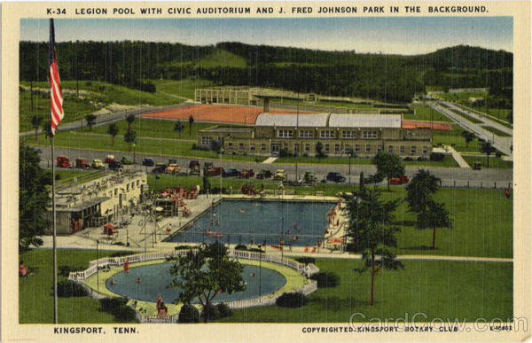 Legion Pool with Civic Auditorium and J. Fred Johnson Park in the background Kingsport Tennessee