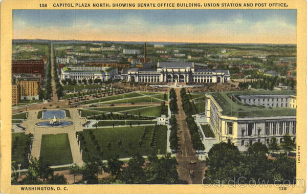 Capitol Plaza North, Showing Senate Office Building, Union Station and Post Office Washington District of Columbia