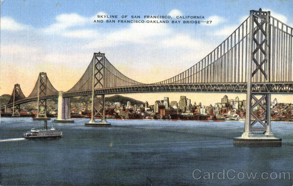 Skyline of San Francisco, California and San Francisco-Oakland Bay Bridge