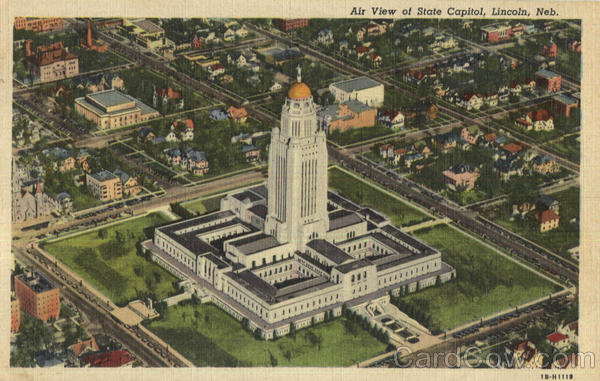 Air View of State Capitol Lincoln Nebraska