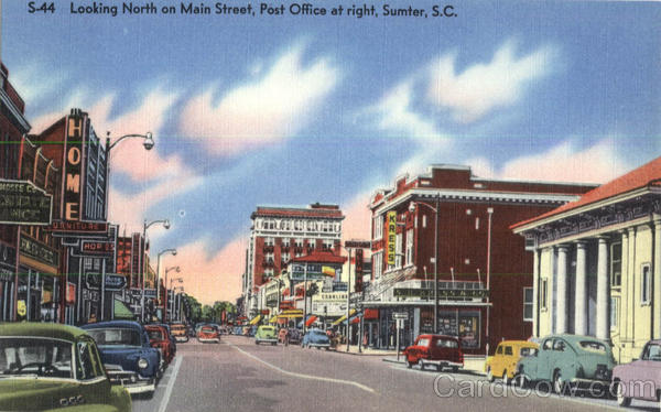 Looking North on Main Street, Post Office at right Sumter South Carolina