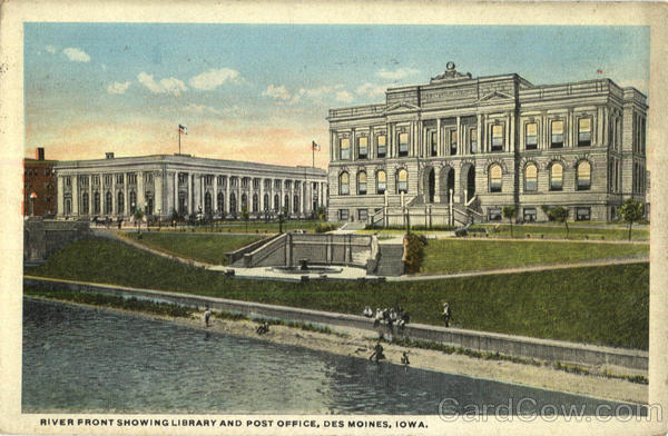 River Front Showing Library And Post Office Des Moines Iowa