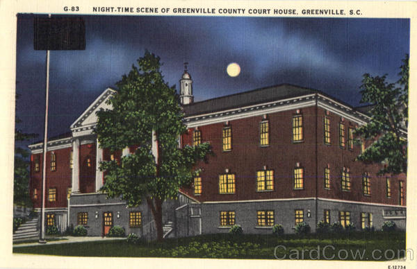 Night-Time Scene of greenville County Court House South Carolina