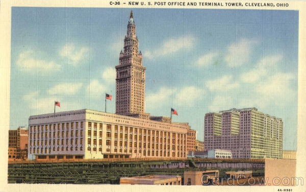 New U. S. Post Office And Terminal Tower Cleveland Ohio