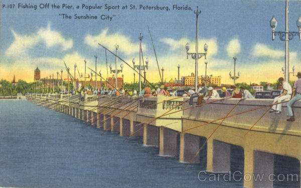 Fishing Off the Pier, A Popular Sport at St St. Petersburg Florida