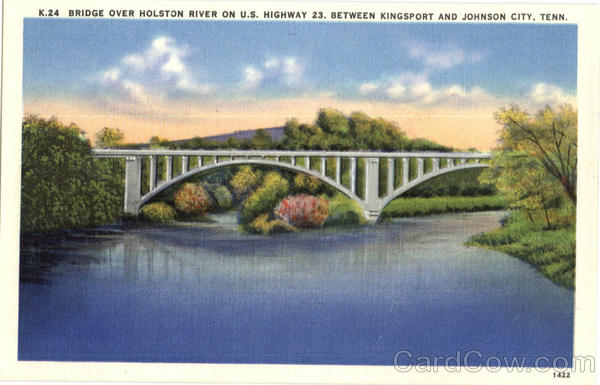 Bridge over Holston River on U.S. Highway, Between Kingsport and Johnson City Tennessee