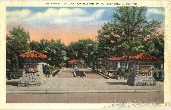 Entrance to Zoo, Livingston Park Jackson Mississippi