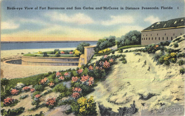 Bird's-eye View of Fort Barrancas and San Carlos and McCerea in Distance Pensacola Florida