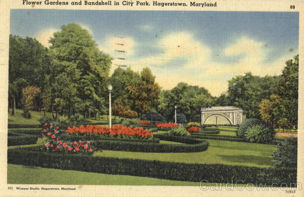 Flower Gardens and Bandshell in City Park Hagerstown Maryland