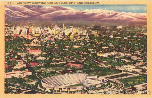 Air View Showing Los Angeles City And Coliseum California