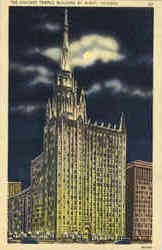 The Chicago Temple Building by Night Postcard
