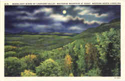 Moonlight Scene of Cashiers Valley, Whiteside Mountain at Right