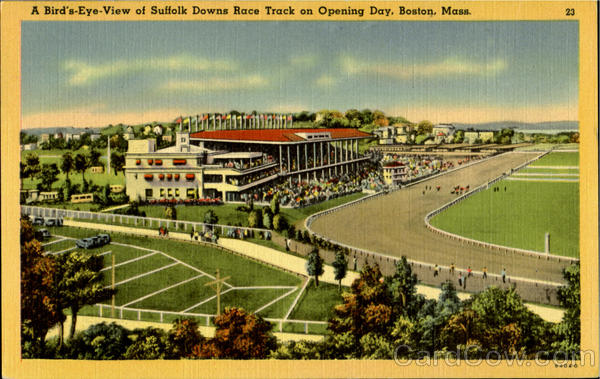 A Bird's Eye-View, Suffolk Downs Race Track on Opering Day Boston Massachusetts