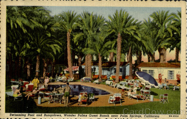 Swimming pool and bungalows, Wonder Plams Guest Ranch near palm beach Calif. California