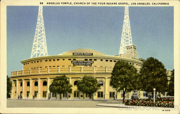 Angelus Temple, Church Of The Four Square Gospe Los Angeles California