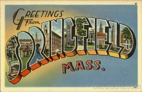 Greetings from Springfield Massachusetts Large Letter