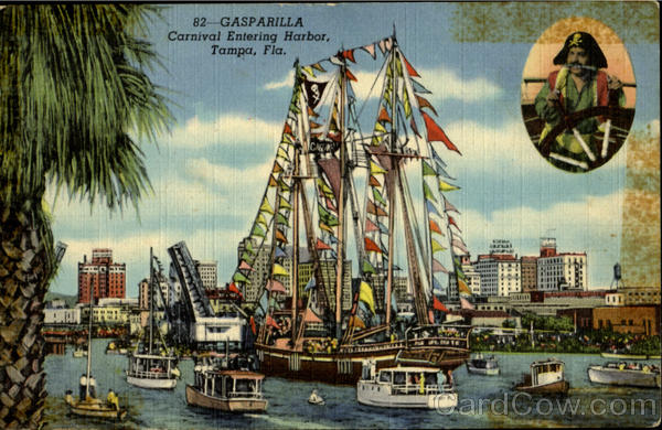 GASPARILLA. Carnival Entering Harbor Tampa Florida