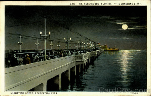 The Sunshine City Nighttime Scene, Recreation Pier St. Petersburg Florida