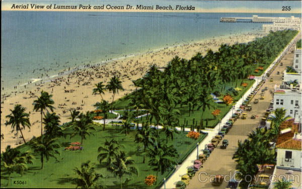 Aerial View of Lummus Park and Ocean Dr Miami Beach Florida