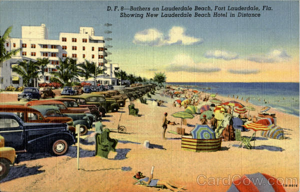 Bathing on Lauderdale Beach Showing New Lauderdale Beach Hotel in Distance Fort Lauderdale Florida