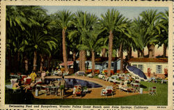 Swimming pool and bungalows, Wonder Plams Guest Ranch near palm beach Calif.