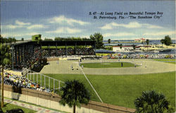 The Sunshine City AL LANG FIELD,, Long Field on Beautiful Tampa Bay Postcard
