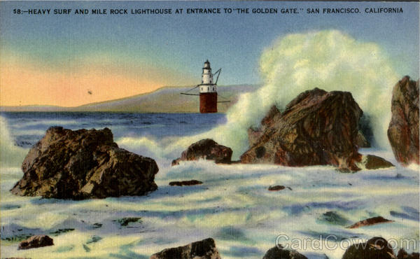 Heavy Surf And Mile Rock Lighthouse San Francisco California