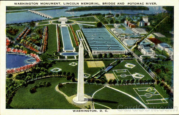 Washington Monument,Lincoln Memorial ,Bridge And Potomac River In Distance District of Columbia