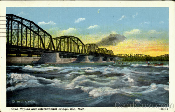 Sault Rapids and International Bridge Soo Michigan