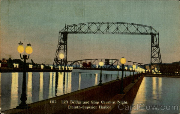 Lift Bridge and Ship Canal at Night, Duluth Superior Harbor Minnesota