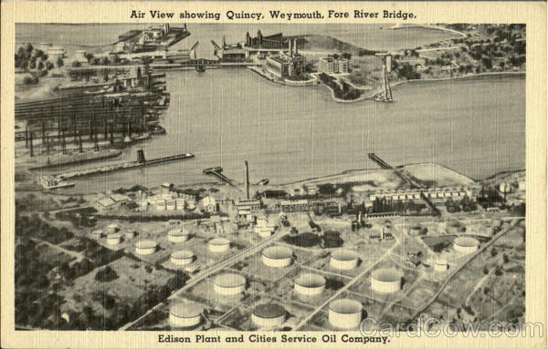 Air View showing Quincy,Weymouth,Fore River Bridge.Edison Plant and Cities Service Oil Company Massachusetts