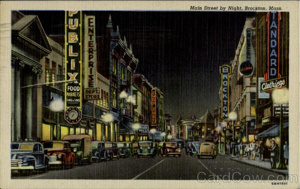 Main Street by Night Brockton, MA Postcard