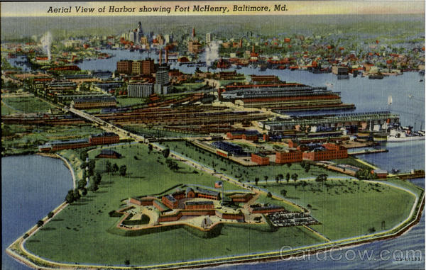 Aerial View of Harbor showing Fort McHenry Baltimore Maryland