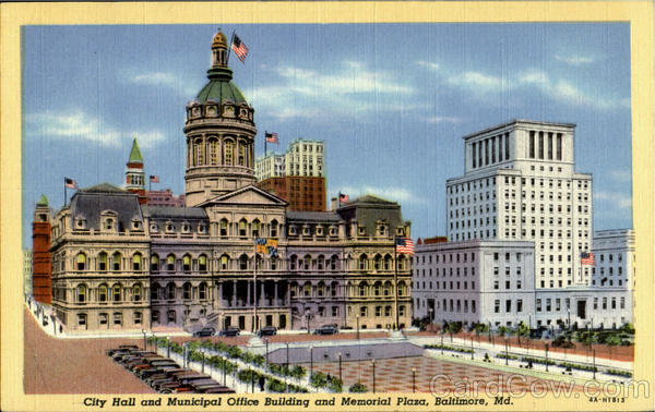 City hall and Municipal Office Building and Memorial Plaza Baltimore Maryland