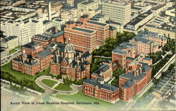 Aerial View of johns Hopkins Hospital Baltimore Maryland