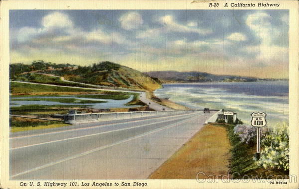 A California Highway, On U.S.Highay 101 ,lOs Angeles to San Diego Scenic