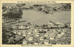 Air View showing Quincy,Weymouth,Fore River Bridge.Edison Plant and Cities Service Oil Company