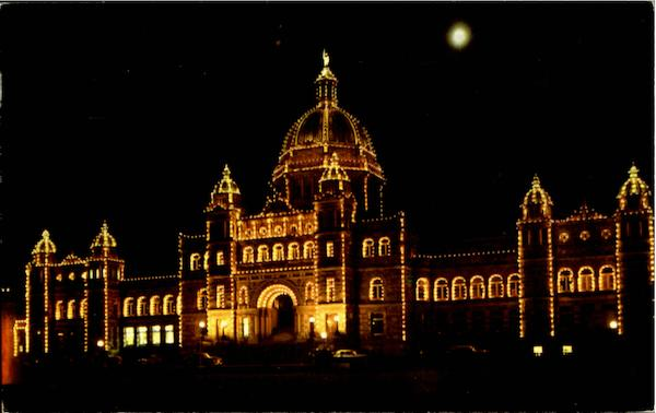 Parliament Buildings By Night Victoria Canada British Columbia