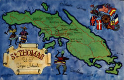 Map Of St. Thomas Postcard