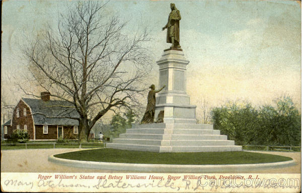 Roger William's Statue And Betsey Williams House, Roger Williams Park Providence Rhode Island