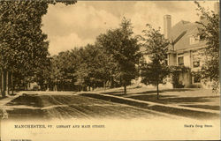 Library And Main Street Postcard
